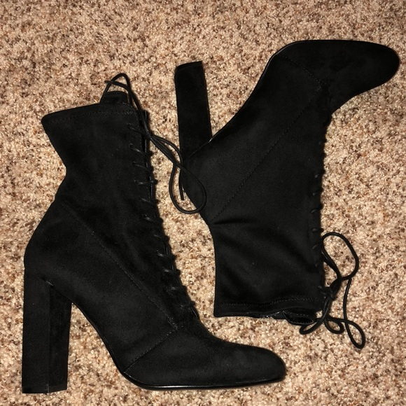5413878c8403 Steve Madden Black Elley Boots with lace-up front.  M 5bdfc956aaa5b81d182dbda5